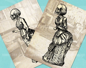 SKULL-HEADED LADIES Digital Collage Sheet 2.5x3.5in Victorian Gothic - no. 0070