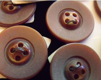 Reddish Brown Buttons Set of 10 Vintage Plastic 4Hole Sew Thru
