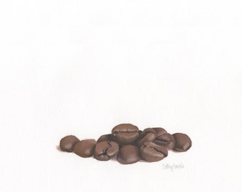 Coffee Beans Print - Minimal Contemporary Kitchen Picture in Neutral Colors