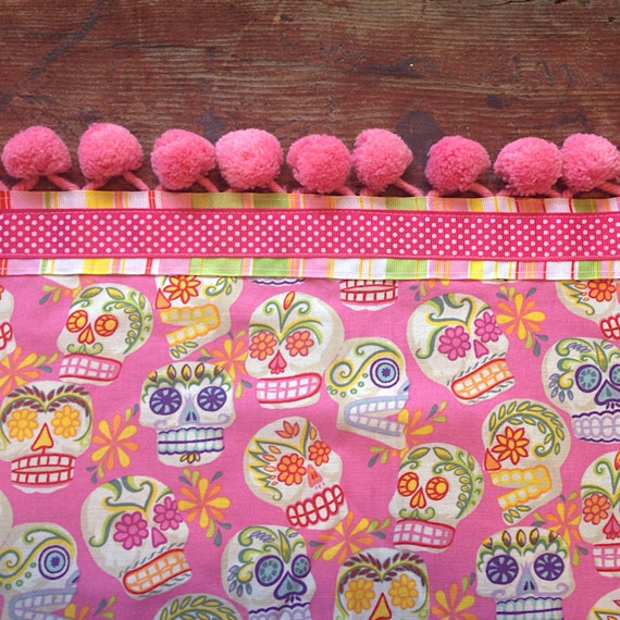 Day of the Dead Tablecloth Sugar Skulls Tablecloth Vintage Pink Pompoms