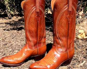 Classic Lucchese Cowboy Boots in Medium Brown Kid with Lizard Inlay Original Box