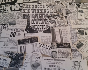 Vintage Western Magazine Ads..Vintage Paper Ad Clippings..Old Ads and Clippings..Paper Ephemera..Altered Art Supply..Mixed Media Supply