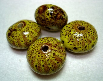 Yellow Spotted Porcelain Large Saucer Beads (Qty 4) - B2658