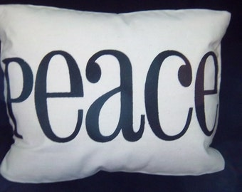 Peace Embroidered Pillow