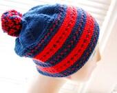 Red & Navy striped wool beanie,