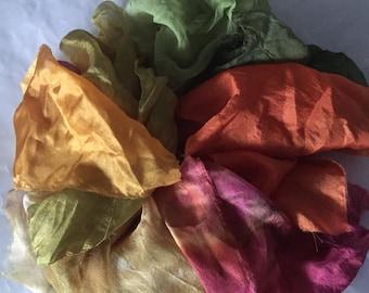 Silk Treasure Bag , silk scraps, silk fabric scraps