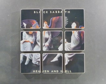 BLACK SABBATH recycled Heaven and Hell album cover coasters with wacky vinyl bowl