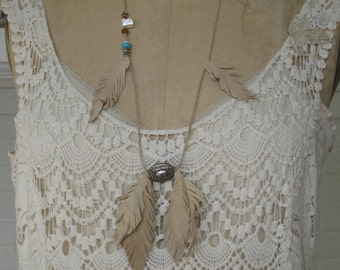 Three Bridemaids Assorted Hemp leather feather leaf Hippie Necklaces