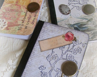 3 Altered Pocket Journals Purse Size Bird Journals Handmade Notebooks Altered Mini Journals Vintage Altered Journals Vintage Mini Notebooks