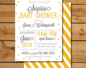 Yellow Surprise Baby Shower Invitation - Neutral Baby Shower