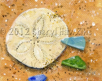 sand dollar and sea glass print of original oil painting on canvas