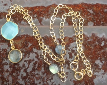 Aqua Blue Chalcedony and Labradorite Bezel Set Necklace     Bezel Set Pendant   Gold Chain   Blue Flash Labradorite  orig 80 now 40 sale