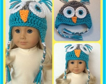 Doll Clothes Made To Fit American Girl,  Crochet Owl Earflap Hat with Braids, Handmade, So Cute!