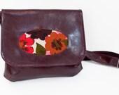 Vegan Floral Bag - Burgundy Cross Body