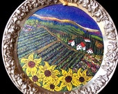 Original vineyard painting on reclaimed ornate graped rimed silver tray