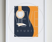 Music art, guitar wall art, modern art for kids - available in different colors and sizes