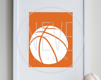 Basketball Room Decor, boys sports decor, 8 x 10 Print - customizable colors