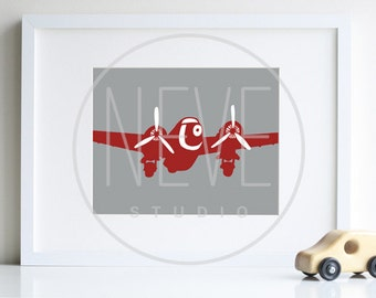 Airplane Nursery Art, boy room decor, 8 x 10 print - available in different sizes and colors