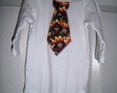 Boys Thanksgiving Tie Shirt, Turkeys, Onesie, Tie Shirt, Newborn, Infants, Toddler, Childs, Ready to Ship