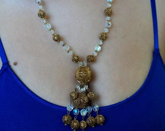 Vintage Brass Filigree Crystal Bead Tassel Fringe Necklace
