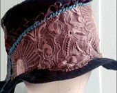Darkest Brown Dusty Rose Lace Cotton Ecofashion Upcycled Tattered Cloche Hat