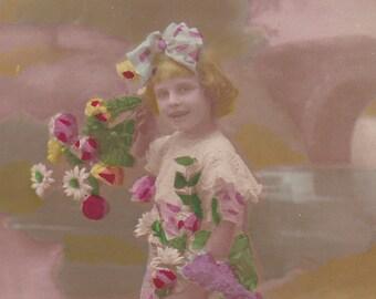 1910s French postcard, Girl with flowers, RPPC paper ephemera.