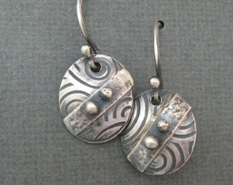 Art Deco Sterling Silver Oxidized Dangle Earrings, Hand Forged Metalsmith Jewelry