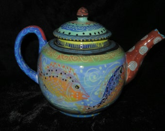 Teapot. With Fish, Serene Bright and Cheerful.