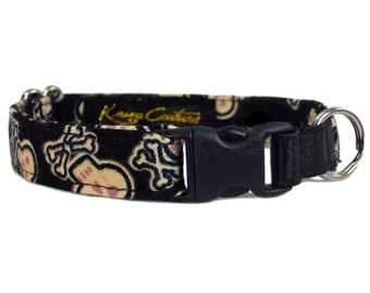 Boy Cat Collar - Cat Collar with Skulls - Safety Cat Collar - Halloween Cat Collar - Non Breakaway Cat Collar - Elastic Cat Collar