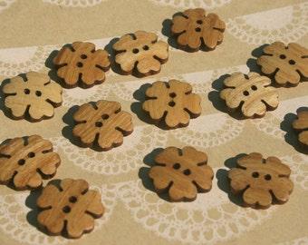 """Wood Flower Buttons - Wooden Flower Petals Button - Dark Edge - 13/16"""" - 12 Buttons"""