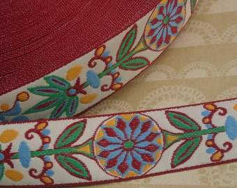 "Vintage Jacquard Trim -  Red Green Yellow Flower Sewing Woven Ribbon - 1 1/8"" - 3 Yards"