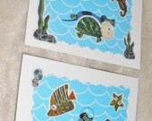 Swimming With The Fishes Dachshund Collage Set Of Two White Cards With Envelopes