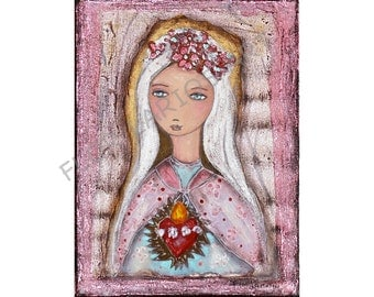 Sacred Love - Immaculate Heart of Mary - Folk Art  Print from Painting (8 x 10  inches Print) by FLOR LARIOS