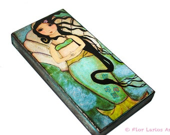 Venus Mermaid -  Giclee print mounted on Wood (5 x 10 inches) Folk Art  by FLOR LARIOS
