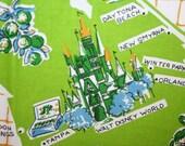 Vintage Modern Tablecloth Florida Souvenir MWT Post-Disneyland 70s