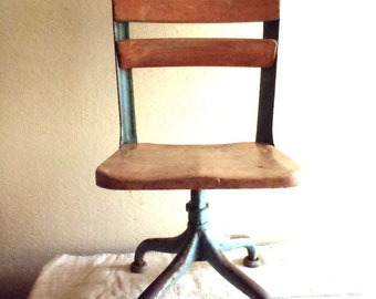 Vintage Machine Age Industrial Solid Iron and Maple Wood School Chair on Pedestal Base