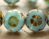 GEORGIA BLUES .. 4 Picasso Czech Glass Flower Beads 13-14mm (4412-4)