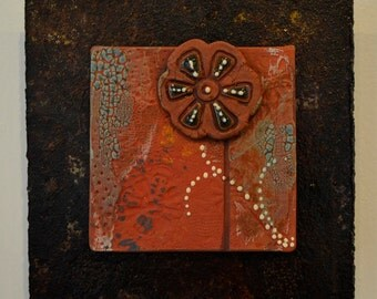 Ceramic Tile Wall Plaque (red, teal, floral) - Meagan Chaney Gumpert (14-16)