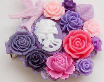 Purple and Pink Skeletina Cluster Clip - Sweet Goth Floral Pretty