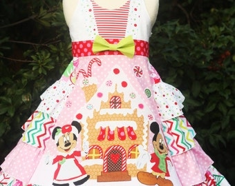 Disney Pink Gingerbread Minnie and Mickey Dress sizes 2 3 4 5 6 7 8 9