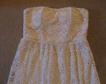 Creame Crochet Lace Dress Size L