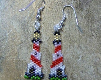 Light House Earrings Hand Made Seed Beaded