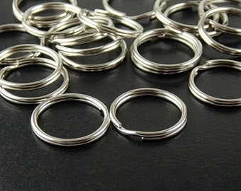 Split Ring Connector 20 Silver Key Ring Double Ring 20mm (1035con20s1)