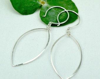 PETALS EARRINGS, sterling silver elliptical hoop earrings