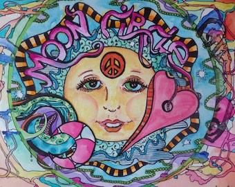 We Circled the Moon, Orginal Art, Singleton Hippie Art, Moon Circle, Drum circle Art, Peace love art, full moon art, astrology art,