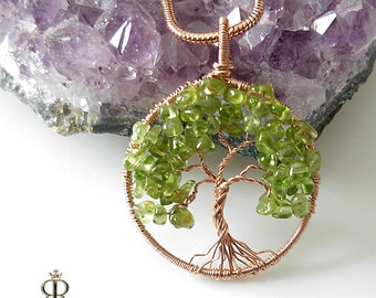 Spring blooming- Peridot Tree of Life - August Birthstone- Rose Gold Tree of life pendant