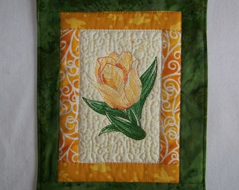 Embroidered  Tulip Mug Rug Coaster or Mini Quilt