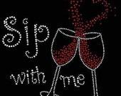 New Women's Rhinestone Wine Cocktail Valentine Heart Love Tee T Shirt Small thru 3XL Plus Sizes FREE SHIPPING