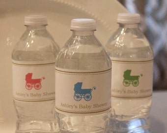 Baby Carriage Water Bottle Label- Set of 20