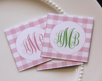 GINGHAM Baby Shower Favor Set w/ Cello Bags- Set of 24